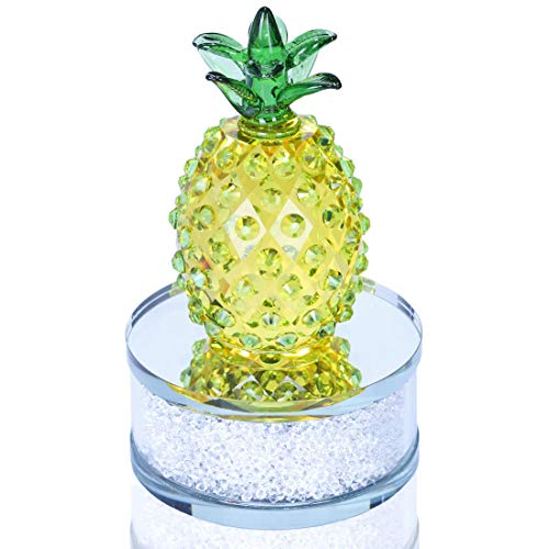 H&D Glass Pineapple Figurine Paperweight Crystal Pineapple Tabletop Centerpiece Rhinestones Base (Yellow&Green)]()
