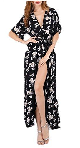 Jaycargogo En Mousseline De Soie Imprimé Floral Femmes V Cou Divisé Robe De Cocktail Plage 1
