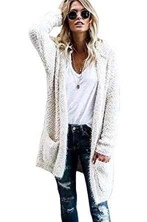 Vosujotis Women Sweater Cardigan Wool Fluffy Open Front