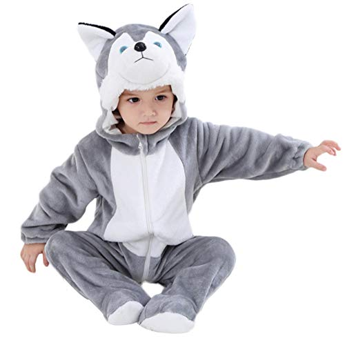 M&A Unisex Baby Hooded Romper Pajamas Winter Flannel Costume Puppy Cosply Clothes ()