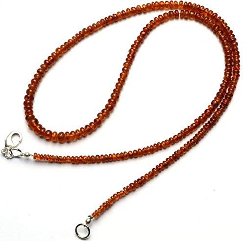 - 1 Strand Natural Hessonite Garnet Smooth 3 to 5MM Rondelle Beads 19 Inch by LadoNarayani
