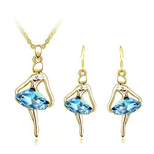 AILUOR Ballet Dance Jewelry Set, Elegant Blue Crystal Lovely Little Girl Dancing Necklace Hook Earrings Dancer Recital Charm Pendant Gift Ballerina Jewelry (Gold)