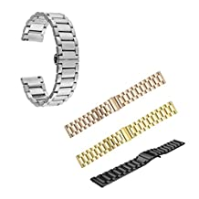 MagiDeal Replacement Wristband, 4 Pieces Universal 22mm Width Strap Smart Watch Stainless Steel Wrist Band with Clasp (Silver, Gold, Rose Gold, Black)