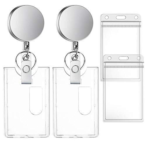 Selizo 2 Packs Metal Retractable Badge Reels with Hard Plastic ID Badge Holders Heavy Duty Keycard Holder with Key Chain Belt Clip