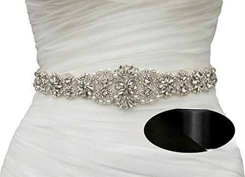 SoarDream Black Bridal Sash Wedding Belt Bridal Dress Belt with Rhinestones