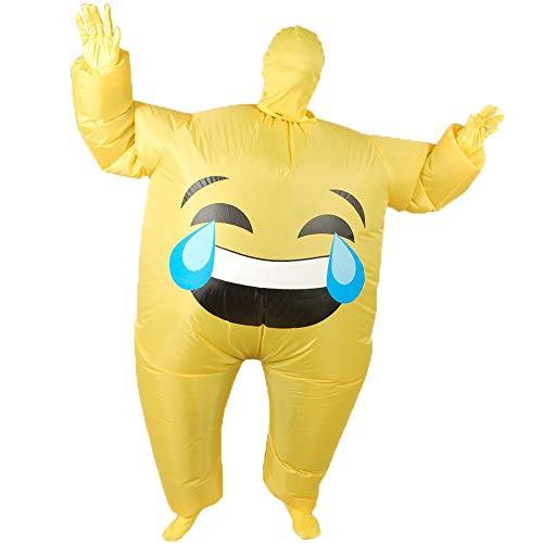 Inflatable Giant Poop Smile Cry Costume for Adult Funny Halloween Party Costumes Blow up Suit - Cry]()