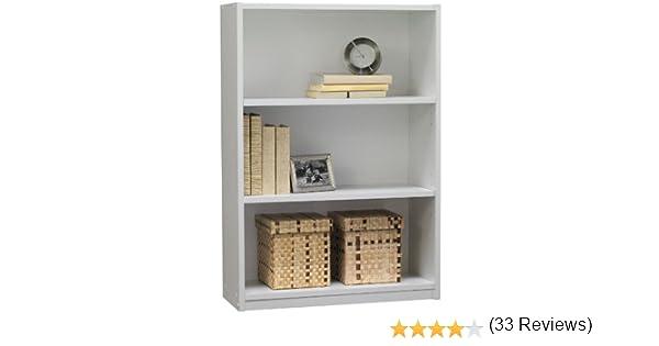 Amazon.com: Ameriwood 3-Shelf Bookcase, White Stipple: Kitchen u0026 Dining