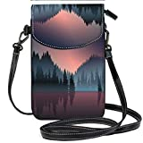 Custom Trendy Shoulder Crossbody Bag Lakeview and Pine Wood at Dusk Casual, Lightweight Multi Pockets Crossbody Bag
