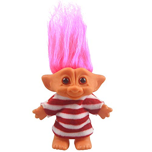 "Yintlilocn Lucky Troll Dolls,Vintage Troll Dolls Chromatic Adorable for Collections, School Project, Arts and Crafts, Party Favors - 7.5"" Tall Red(Include The Length of Hair)"