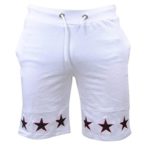Pervobs Men Shorts Summer Loose Men Star Print Drawstring Casual Beach Work Short Trouser Shorts Pants with Pocket (M, ()