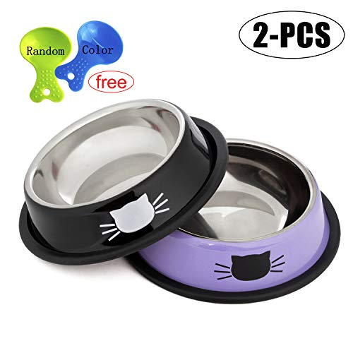 Legendog 2Pcs Cat Bowl Pet Bowl Stainless Steel Cat Food Water Bowl Non-Slip Rubber Base Small Pet Bowl Cat Feeding Bowls Set (Green+Orange) (Black+Purple)