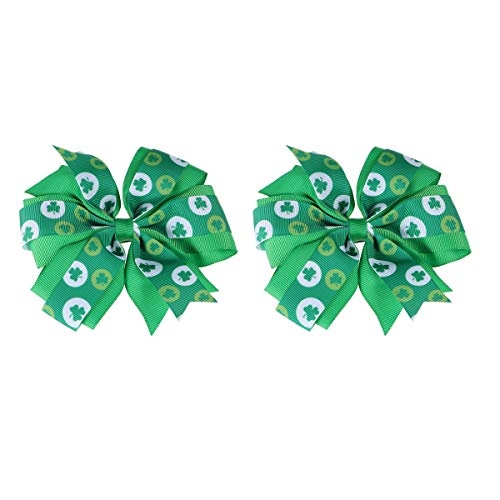 BESTOYARD St. Patrick's Day Hairpins Bowknot Clover Shamrock Headdress Hair Accessories for Kids Baby Girls 1 ()
