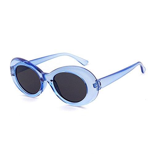 Clout Goggles Oval Mod Sunglasses Retro Kurt Cobain Glasses Transparent - Transparent Frame Blue