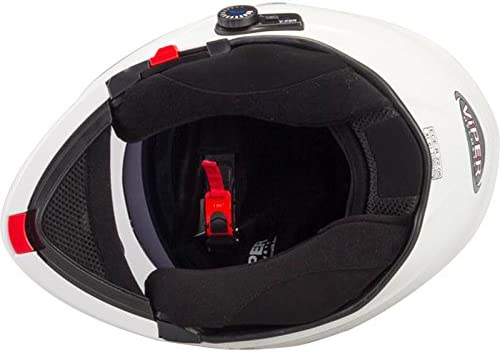 Viper RS-V171 Blinc Bluetooth 53-54cm 3.0 Fullface Helm Klapphelm Motorrad Helm Roller mit Doppelvisier Motorradhelm Damen und Herren Integralhelm ACU Gold gestempelt Wei/ß XS
