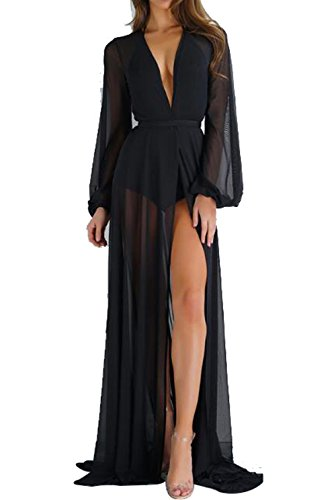 Women's Sexy Sheer Mesh Belted Solid Short/Long Sleeve Cover up Kimono Cardigan Size M - Dress Black Kimono