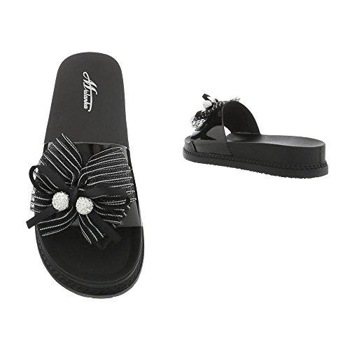 Design D Sandales 51 Chaussures Plat Femme Ital Noir Mules vd0gtq