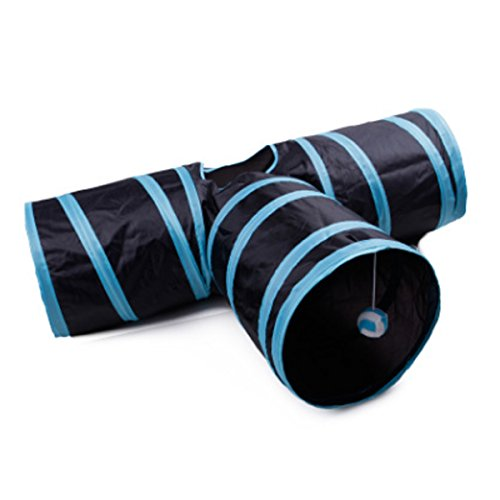 IDS Home Pet Tunnel Y-Shaped 3-Way Foldable Crinkle Interactive Playing Training Toy for Various Pets - Blue + Black by IDS Home
