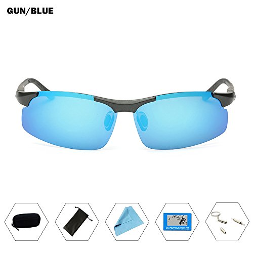 ROOVON Mens and Womens Polarized Sunglasses for Driving Fishing Cycling Golf Sports Fashion Sunglasses,Gun Frame and Blue - Kind What Of Sunglasses
