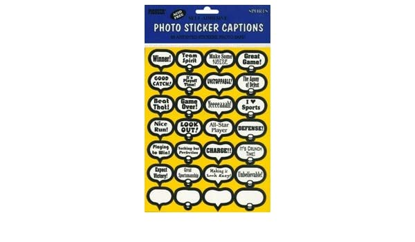 Amazon com sports theme photo caption stickers pkg of 56 other products sports outdoors
