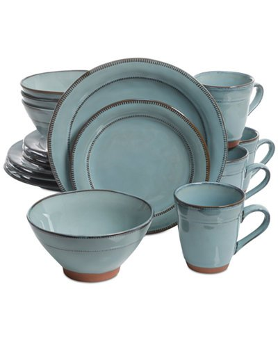 Laurie Gates Valencia Teal 16 PC Dinnerware Set, Service for 4
