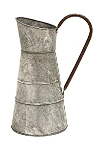 Deco 79 Metal Galvanized Watering Jug, 10 by 16-Inch