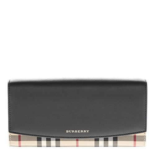 Burberry Women's Horseferry Check and Leather Wallet With Chain Black