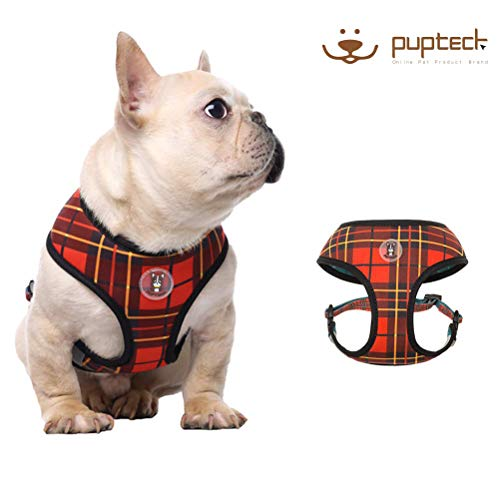 PUPTECK Mesh Dog Harness - No Pull Adjustable Harnesses - 3M Reflective Outdoor Vest for Easy Control for French Bulldog, Medium