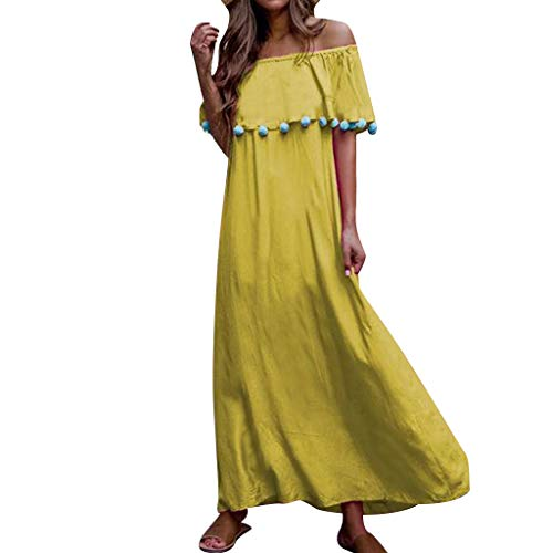 (Dress Sexy Cap Short Sleeve Flowy Cocktail Gown Fashion Women Solid Slash Neck Off Shoulder Cotton Ball Tassel Bohemia Dress (XXL,Yellow))