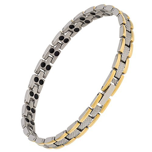 Earth Therapy Duo-Tone Titanium Magnetic Therapy Bracelet - Elegant Pain Relief Jewelry with 48 Magnets
