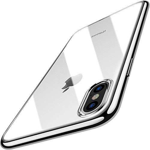 (TOZO for iPhone X Case, Crystal Clear Soft TPU Gel Skin Ultra-Thin [Slim Fit] Transparent Flexible Premium Cover [Wireless Charger Compatible] for iPhone 10 / X [Space Silver Plating Edge])