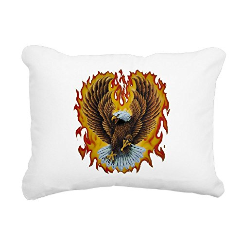 - Rectangular Canvas Throw Pillow Natural Eagle with Flames
