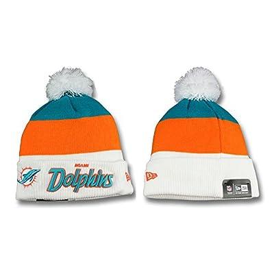 Miami Dolphins Orange White Stripe Pom Pom Winter/Spring Knit Beanies
