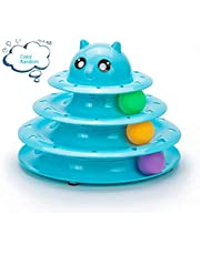 Mumoo Bear Cat Toy Roller 3 Layers Tower Tracks Roller with 3 Colorful Ball Interactive Kitten Fun Mental Physical Exercise Puzzle Toys, Color Random