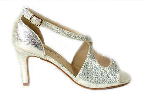 SKO'S Womens Ladies Wedding Diamante Prom Low Mid High Heel Bridal Court Shoes Size Silver (168-2) iYTX68E