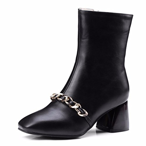 Terry boots boots lady Booties killer Black size chain decoration Biker Winter IvdwXUXx
