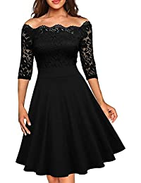 Women's Vintage Floral Lace Half Sleeve Boat Neck Cocktail Formal Swing Dress