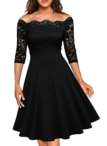 MISSMAY Women's Vintage Floral Lace Half Sleeve Boat Neck Formal Swing Dress, Medium, Black