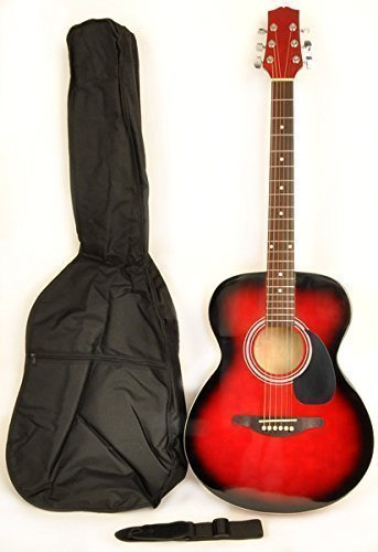 Mentor VT RDS Red Acoustic Electric Guitar Package w/ Instrucional DVD and Carry Bag Included by Omega