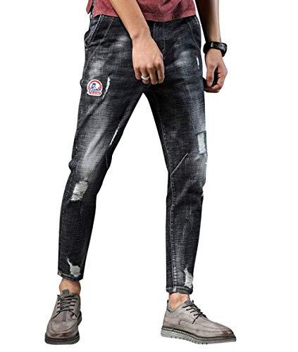 Hombres Jóvenes Hombres Modernos Re Ufige con Jeans Skinny Agujeros Cher Summer Slim Transpirables Pantalones Cómodos Al Aire Libre Blau