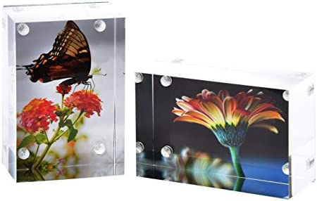2 Pk Wallet Sized Magnetic Photo Frame Elegantly Display Photos In Home Office Magnetic Picture Frames For 2x3 Photos With Clear Acrylic And Metal Backing 3cm Thick Sturdy Frames Amazon Co Uk Kitchen