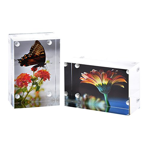 2-Pk Wallet Photo Sized Magnetic Photo Frame: Elegantly Display Wallet-Sized Photos in Home/Office - Magnetic Picture Frames for 2x3 Photos with Clear Acrylic and Metal Backing - 3cm Thick