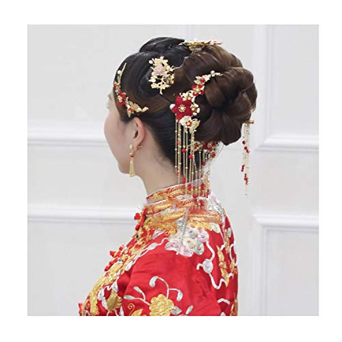 Traditional Chinese Bride Headdress Costume Hairclips Red Flower Hairpin Wedding Hairwear Photography Hair Stick Accessory]()