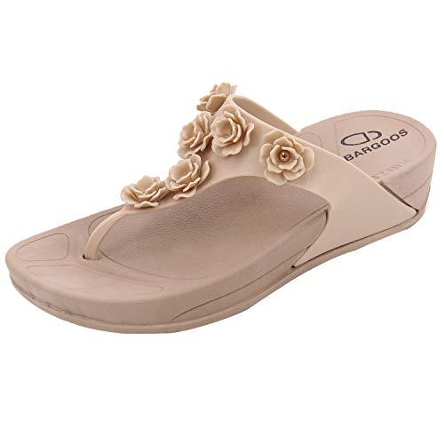 BARGOOS Women's Comfort Thong Slides Footbed Sandals Waterproof Flip Flops with Arch Support for Indoor Outdoor 003#Nude 38