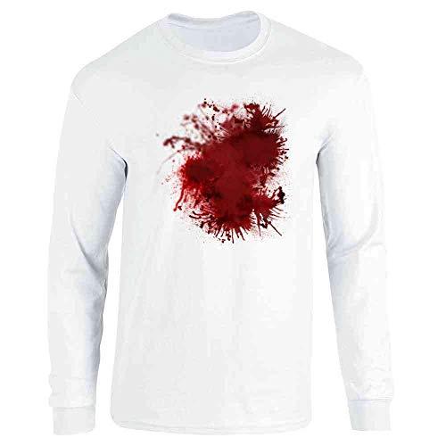 White T Shirt Halloween Blood (Pop Threads Blood Splattered Horror Bloody Halloween Costume White S Full Long Sleeve Tee)