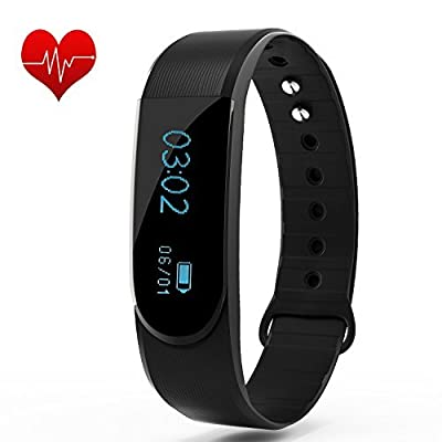 Ancheer Fitness Tracker, Activity Tracker Heart Rate Monitor Step/Sleep/Calorie Counter Call/SMS Reminder Bracelet Band Waterproof Wireless Bluetooth Wristband Pedometer Smart Watch