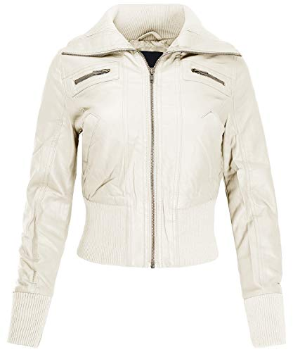 Ladies' Code Zip Up Cropped Biker Faux Leather Jacket Cream L ()