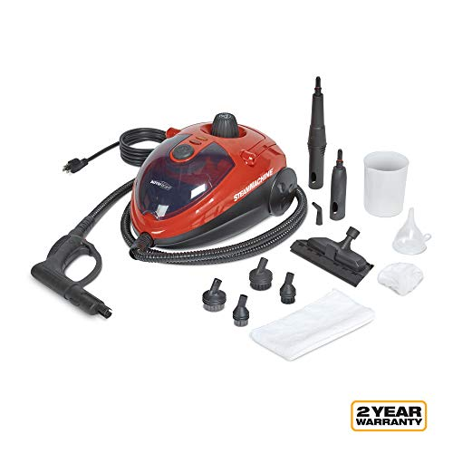 AutoRight C900054.M Red SteamMachine Multi-Purpose Steam Cleaner, 11 Accessories Included
