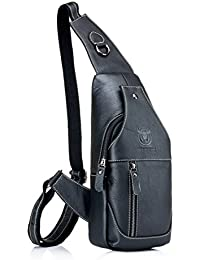 Men's Sling Bag Genuine Leather Chest Shoulder Backpack Cross Body Purse Water Resistant Anti Theft For Travel Hiking School