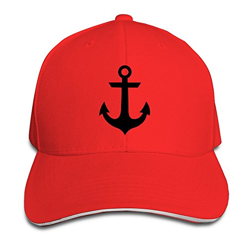 anchor-unisex-100-cotton-adjustable-baseball-cap-red-one-size