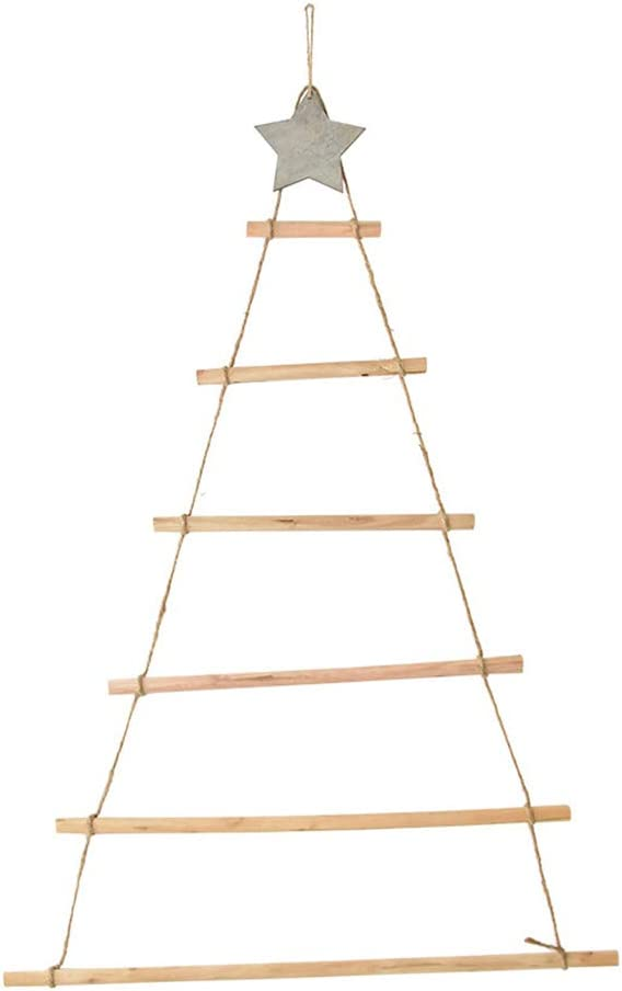 Hanging Christmas Tree Wall Decoration, 80cm Hanging Wooden Rope Ladder Wall Hanging Branch Christmas Tree Decoration, Pre-Lit Wooden Tree Ladder Christmas Decoration Home Accessories